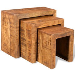 Pamela Solid Mango Wood Nest Of Tables | NEST OF TABLES UK