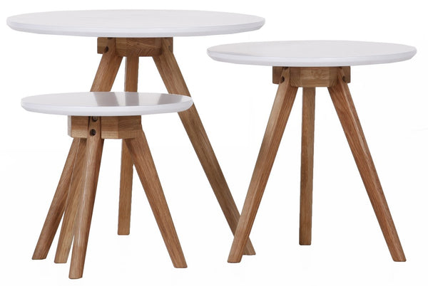 Erika 3 Piece Nest of Tables - White