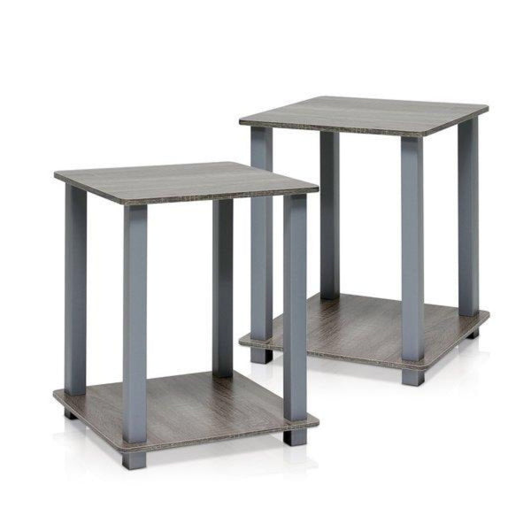 Fenton Side Tables Pair – Set Of 2 – French Oak/Grey