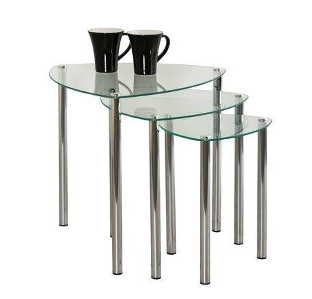 Aria 3 Piece Nest of Tables - Clear