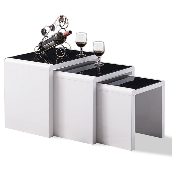 Carina White & Black Glass Nest Of Tables