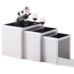 Carina Nest Of Tables - Black Glass & White Gloss | BUY FROM NEST OF TABLES UK | FREE DELIVERY UK MAINLAND