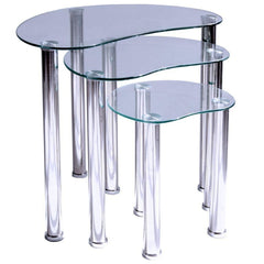 Remy 3 Piece Nest of Tables - Glass & Stainless Steel | BUY FROM NEST OF TABLES UK | FREE DELIVERY UK MAINLAND