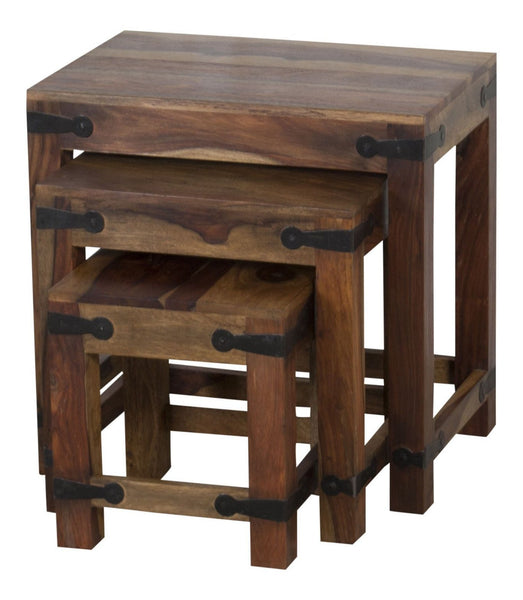 Ani Solid Sheesham Rosewood Nest Of Tables - Set Of 3 - Natural/Chestnut