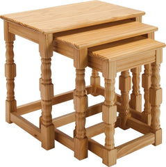 Kacey Traditional Solid Pinewood Nest Of Tables Set Of 3 Light Oak Effect | NEST OF TABLES UK