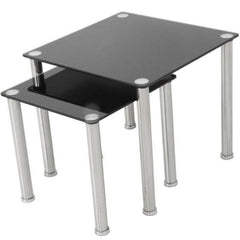 Celia Black Glass Nest Of Tables - 2 Tables - Black Glass & Chrome | BUY FROM NEST OF TABLES UK | FREE DELIVERY UK MAINLAND