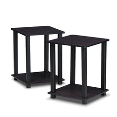 Black Wood Nest of Tables, Fenton 2 Piece Side - Dark Walnut