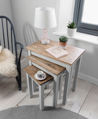 Dark Wood Nest of Tables | Layton - Dark Pine & Silk Grey