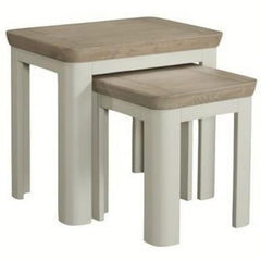 Titus Solid Oak Nest of Tables - Stone Painted