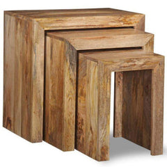 Abaross Solid Mango Wood Nest Of Tables | NEST OF TABLES UK