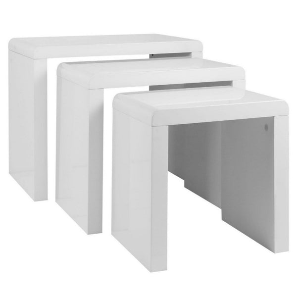 High Gloss 3 Piece Nest Of Tables - White