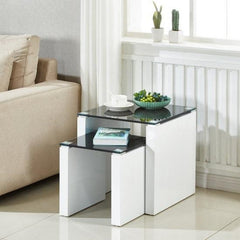 Ava 2 Piece Nest Of Tables - Black Glass/White Gloss