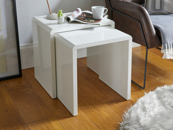 Nonna High Gloss 2 Piece Nest of Tables - White