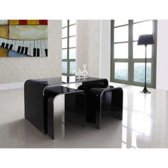Black Glass Nest of Tables - Long