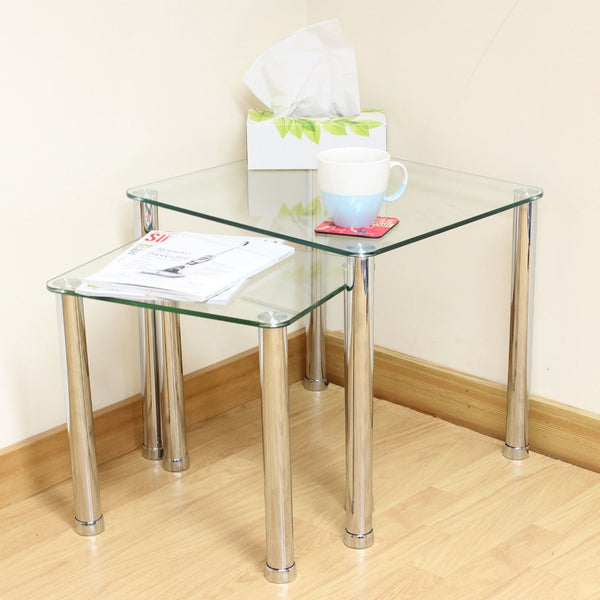 Gilby Glass Nest Of Tables - Set Of 2 - Clear Glass