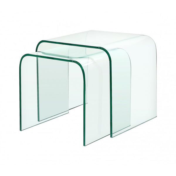 Mirage Glass Nest of Tables - Curved