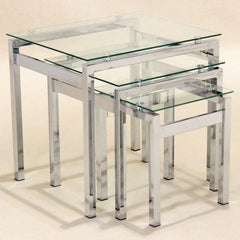 Delani Clear Glass Nest Of Tables | NEST OF TABLES UK