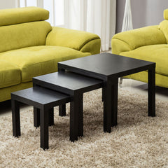 Cypressa Black Nest Of Tables Set Of 3 | NEST OF TABLES UK