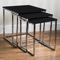 Swinx Black Gloss & Chrome Nest Of Tables | BUY FROM NEST OF TABLES UK | FREE DELIVERY UK MAINLAND