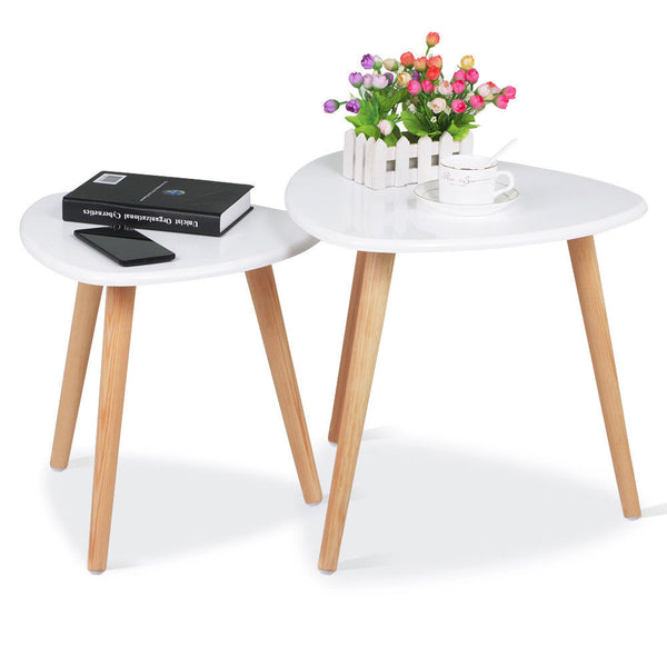 Triangle 2 Piece Nest of Tables - White