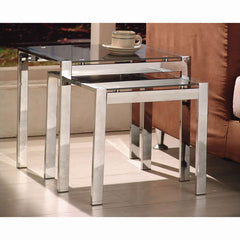 Signi 2 Piece Nest of Tables - Glass/Chrome