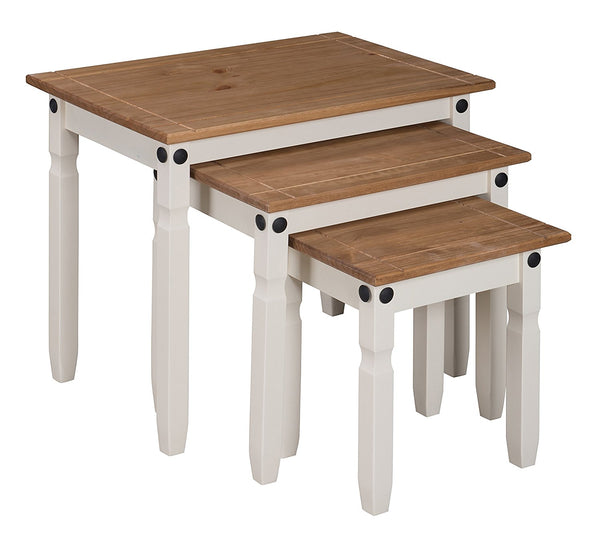 Azoic 3 Piece Nest Of Tables - Solid Pine - Cream