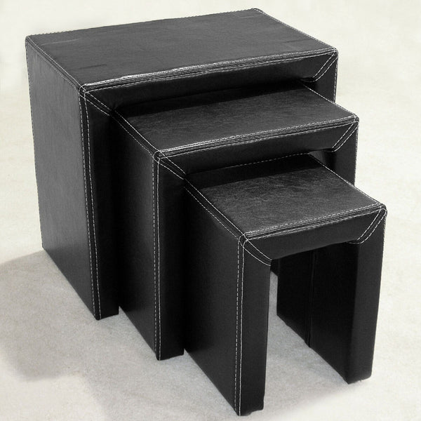 Lena Black Leather Nest Of Tables