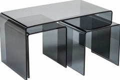 Yuma Black Glass Nest Of Tables Set Of 3 Black | BUY FROM NEST OF TABLES UK | DELIVERY FREE UK MAINLAND
