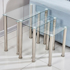 Rosaline Clear Glass Nest Of Tables | NEST OF TABLES UK