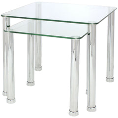 Gilby Clear Glass & Chrome Metal Nest Of Tables Set Of 2 | NEST OF TABLES UK
