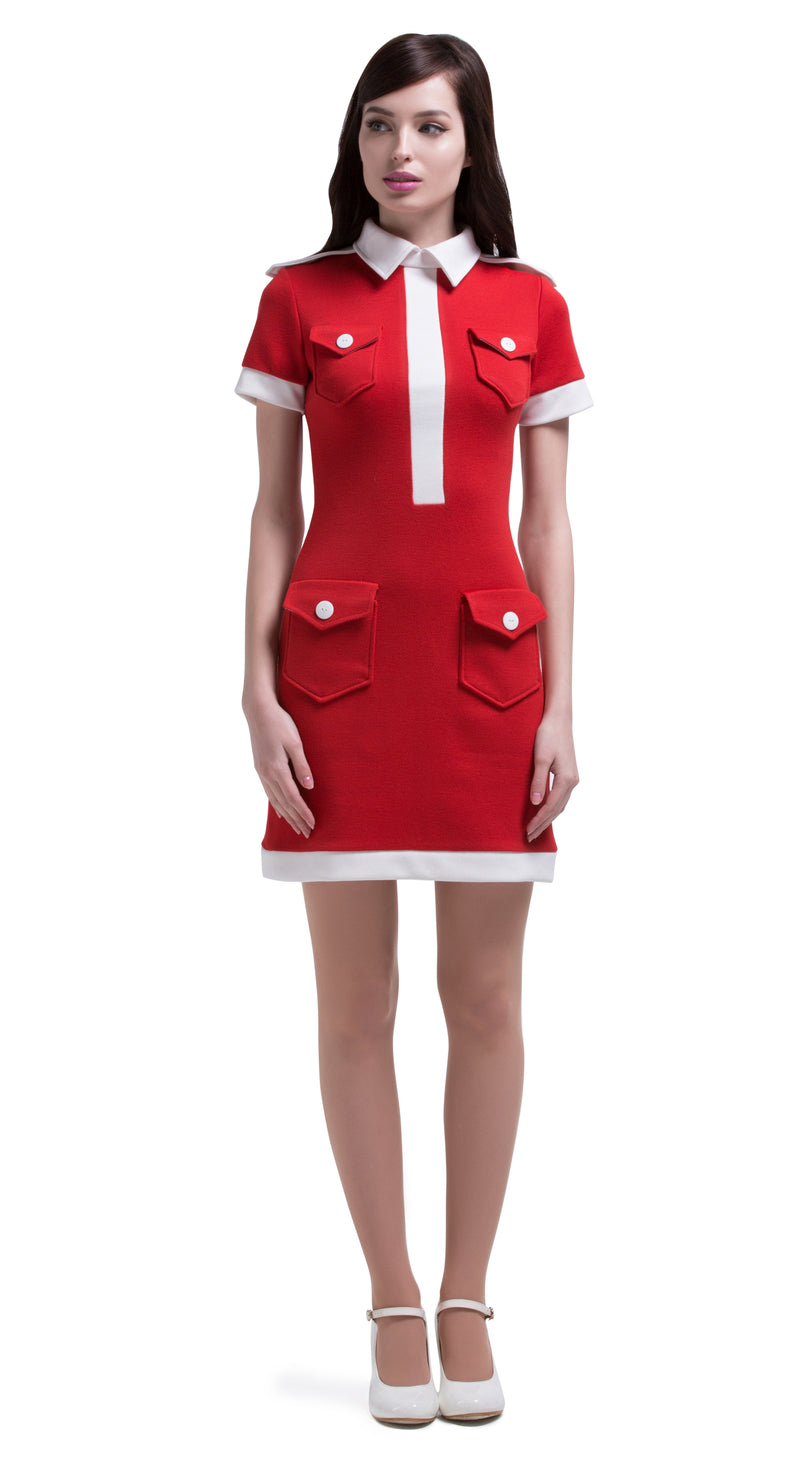 MARMALADE 60s Red/Light Cream Vintage Style Dress