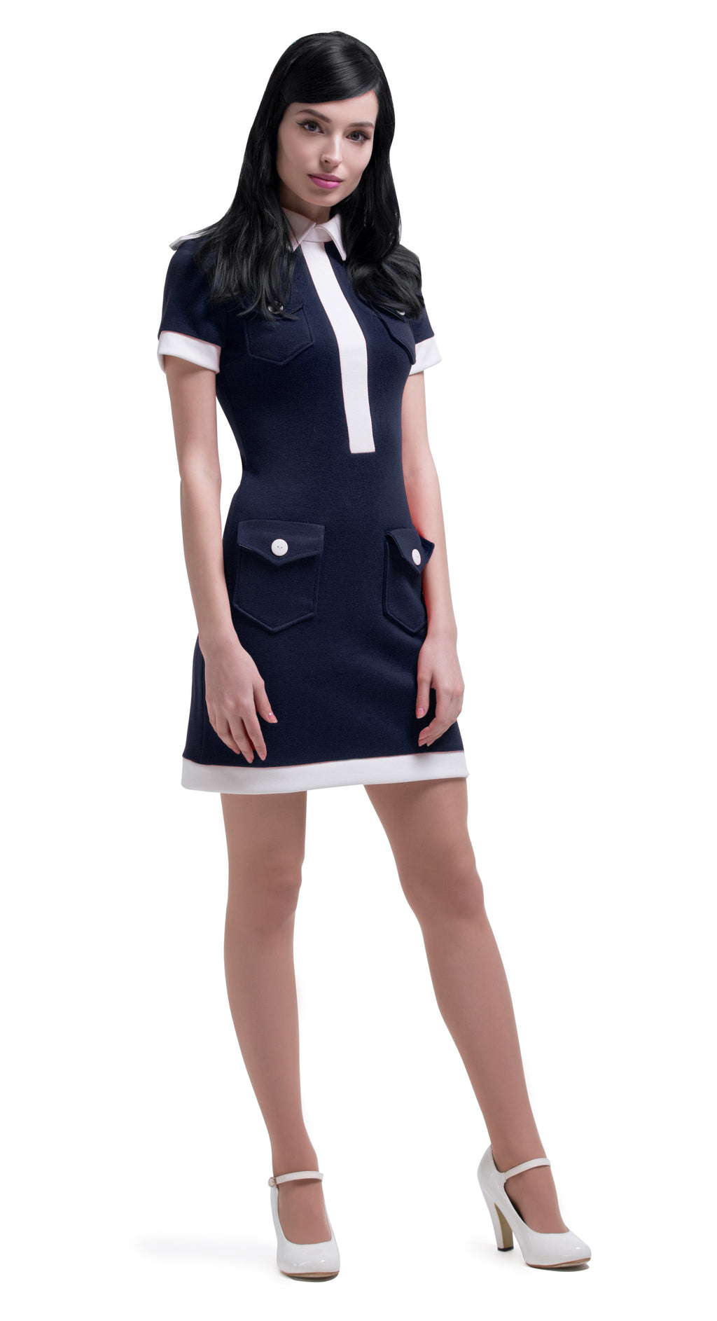 MARMALADE 60s Navy Blue/Light Cream Vintage Style Dress
