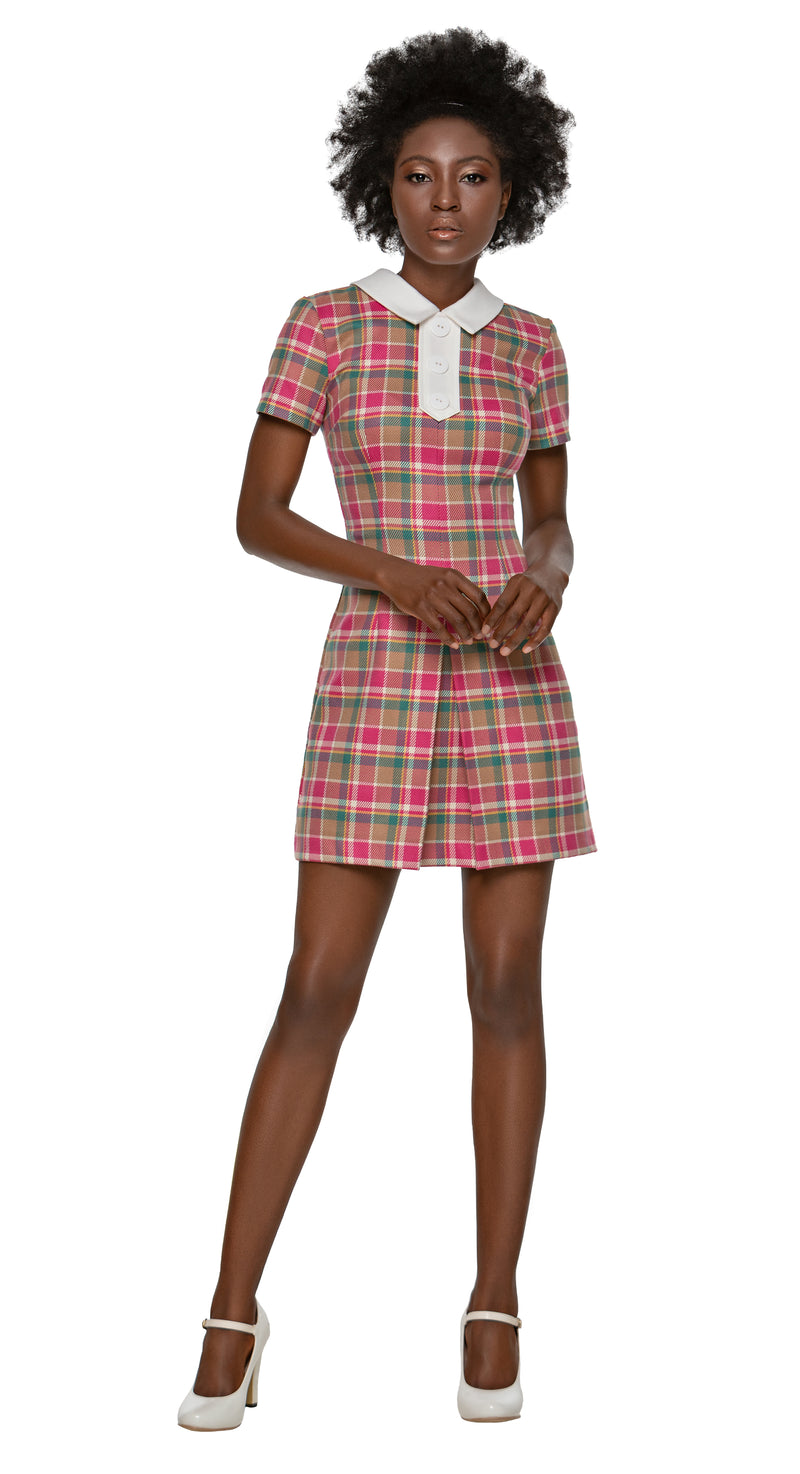 MARMALADE Plaid Mod Style Dress with Collar and Buttons