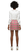 MARMALADE Light Cream and Plaid Dress with Bow