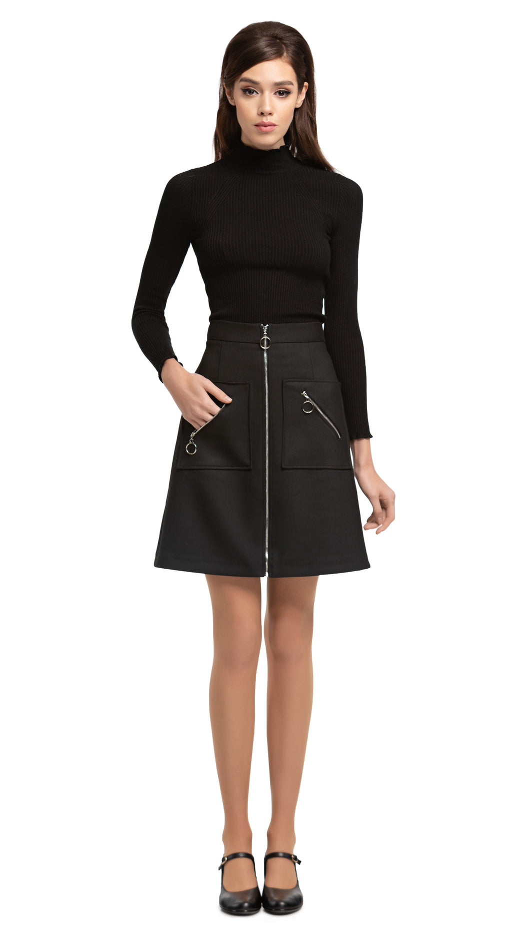MARMALADE 1960s Style Black Skirt with Circle Zipper Pull