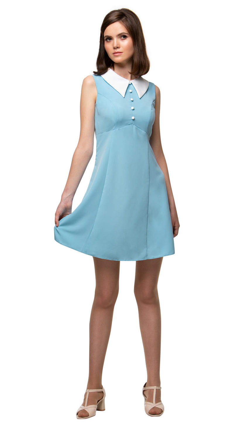 MARMALADE 1960s Style Dress with Collar in Dusty Blue