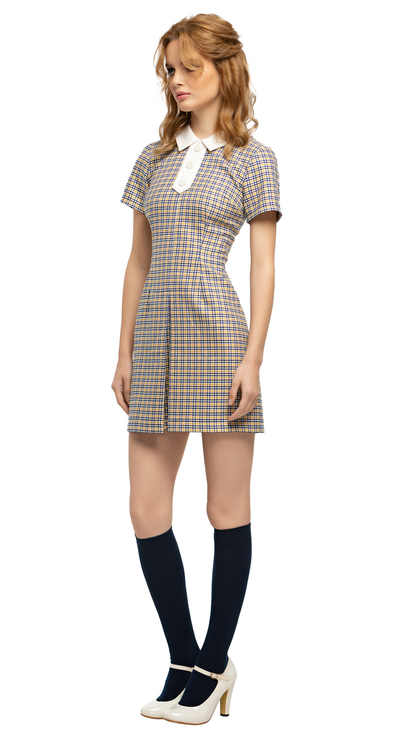 MARMALADE Mustard/Navy/Cream Plaid Mod Style Dress with Collar and Buttons