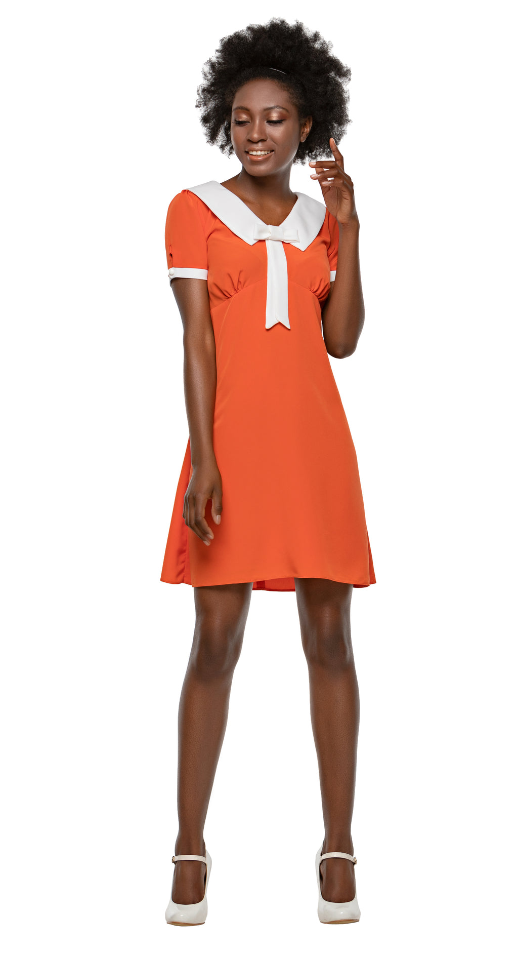 MARMALADE 60s Style Dress with Collar and Bow in Orange