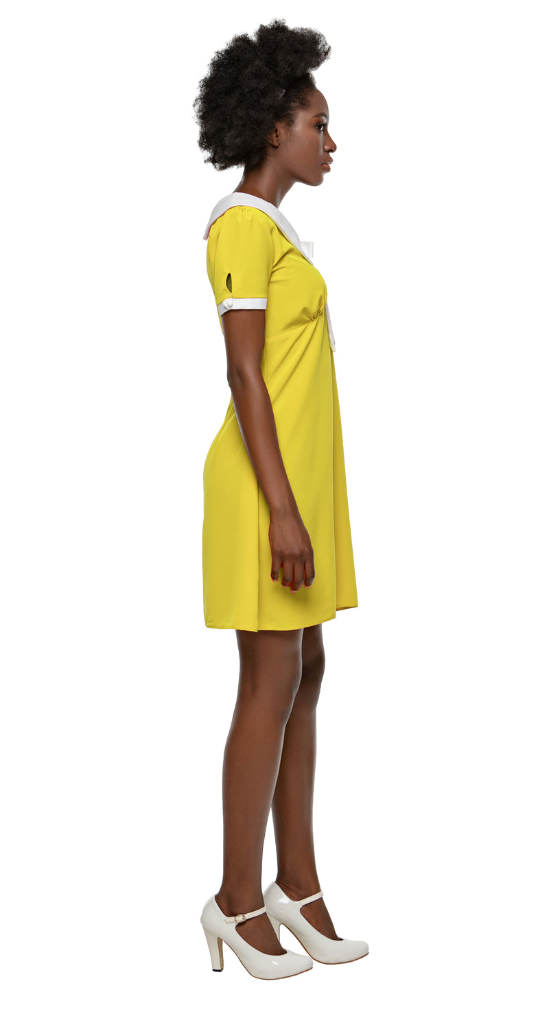 MARMALADE 60s Style Dress with Collar and Bow in Yellow