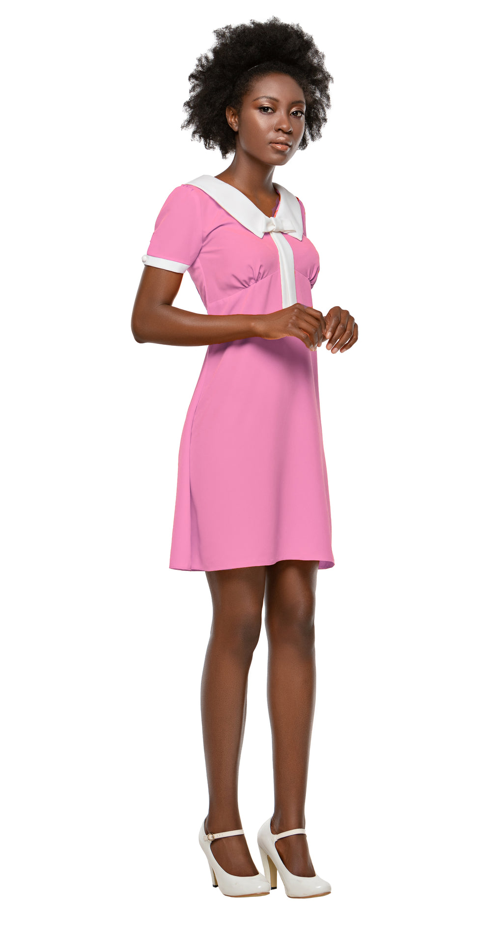 MARMALADE 60s Style Dress with Collar and Bow in Pink