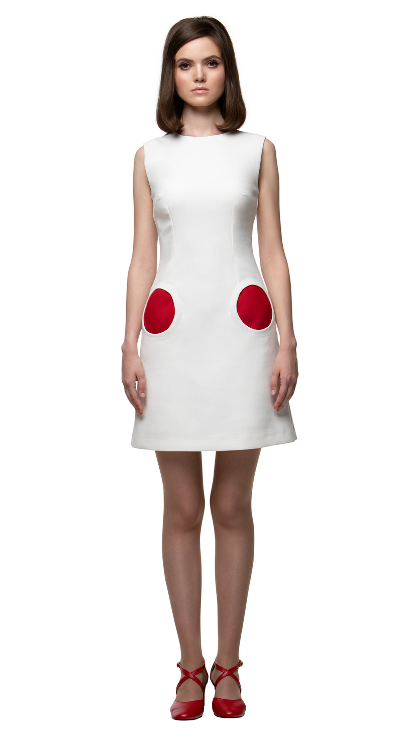 MARMALADE Mod Style Light Cream Dress with Circle Pockets
