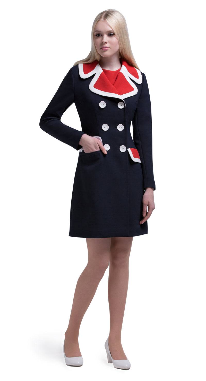 This straight cut sixties tri-colour mod dress has a contrasting top and decorative faux pockets. This medium weight Italian mill fabric provides a bit of stretch.  Short sleeve with white trim.  Pairs perfectly with our matching double breasted coat to create a fabulous high fashion set.  Choose bespoke for alternative sleeve lengths.