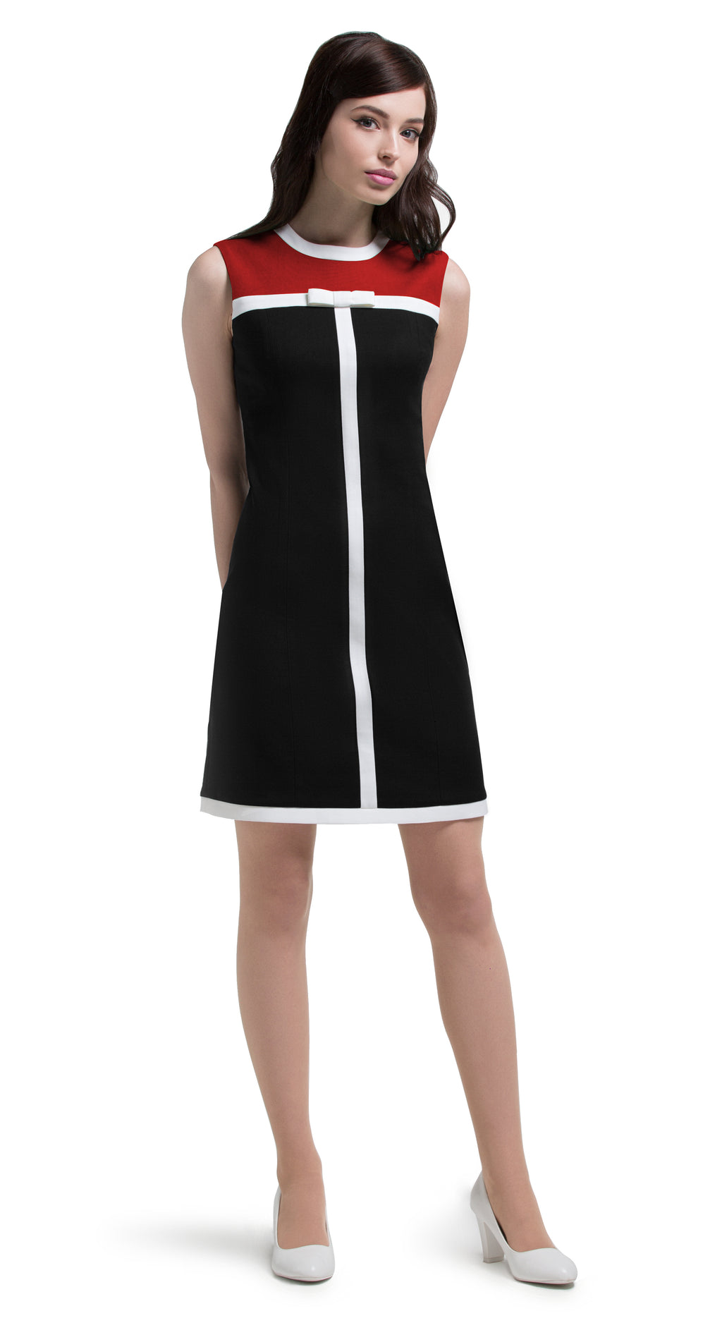 This slightly a-line Italian cotton dress has casual elegance and makes a confident cool immediate impression. The vintage aesthetic allows for the front top panel to work in a variety of colours complementing the dress whether opting for original black, contrasting red and black or contrasting green and black. Choose the bespoke option if you prefer sleeves or different colours.