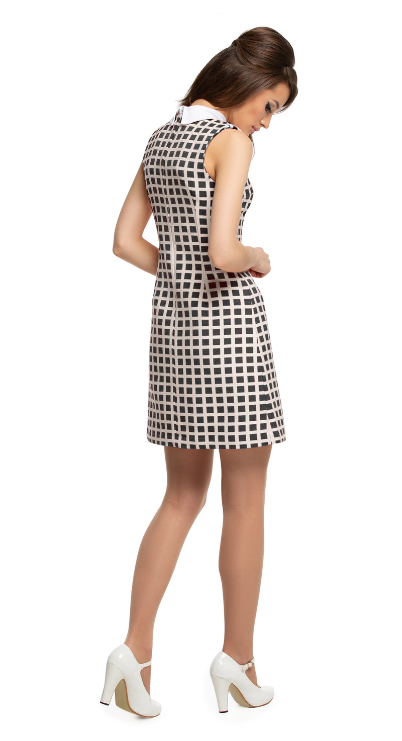 MARMALADE Mod Square Pattern Dress with Collar in Red or Black