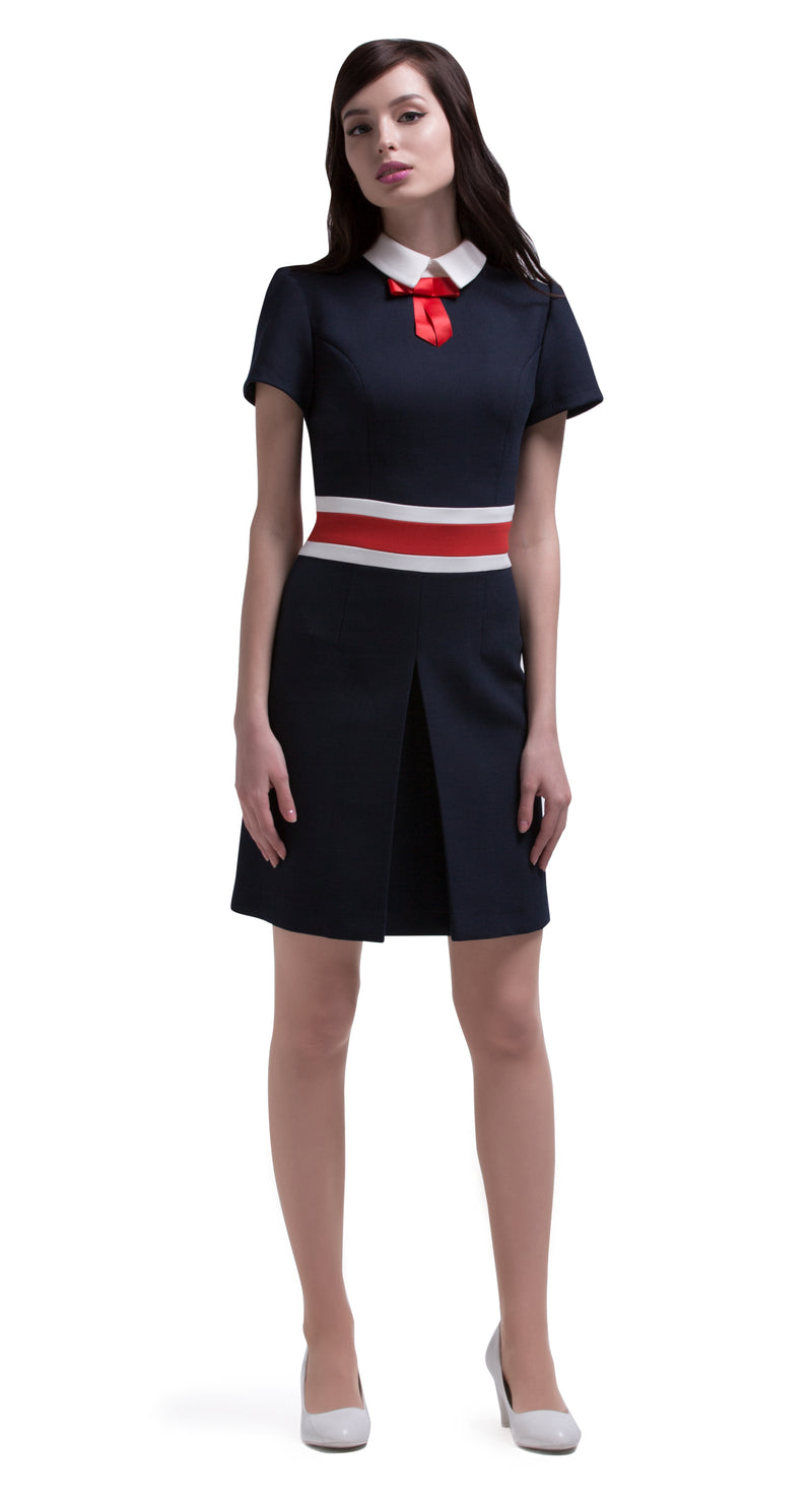 This straight cut, front pleat, tri-colour sixties style dress has contrasting retro bands at the waistline. Made from a navy blue, red and light cream, medium weight Italian mill fabric. Provides some stretch. A small light cream collar with contrasting red bow and short sleeves completes this at work or play versatile Autumn dress.  Pairs perfectly with our matching double breasted coat to create a fabulous high fashion dress/coat set.   Choose bespoke for alternative sleeve lengths.