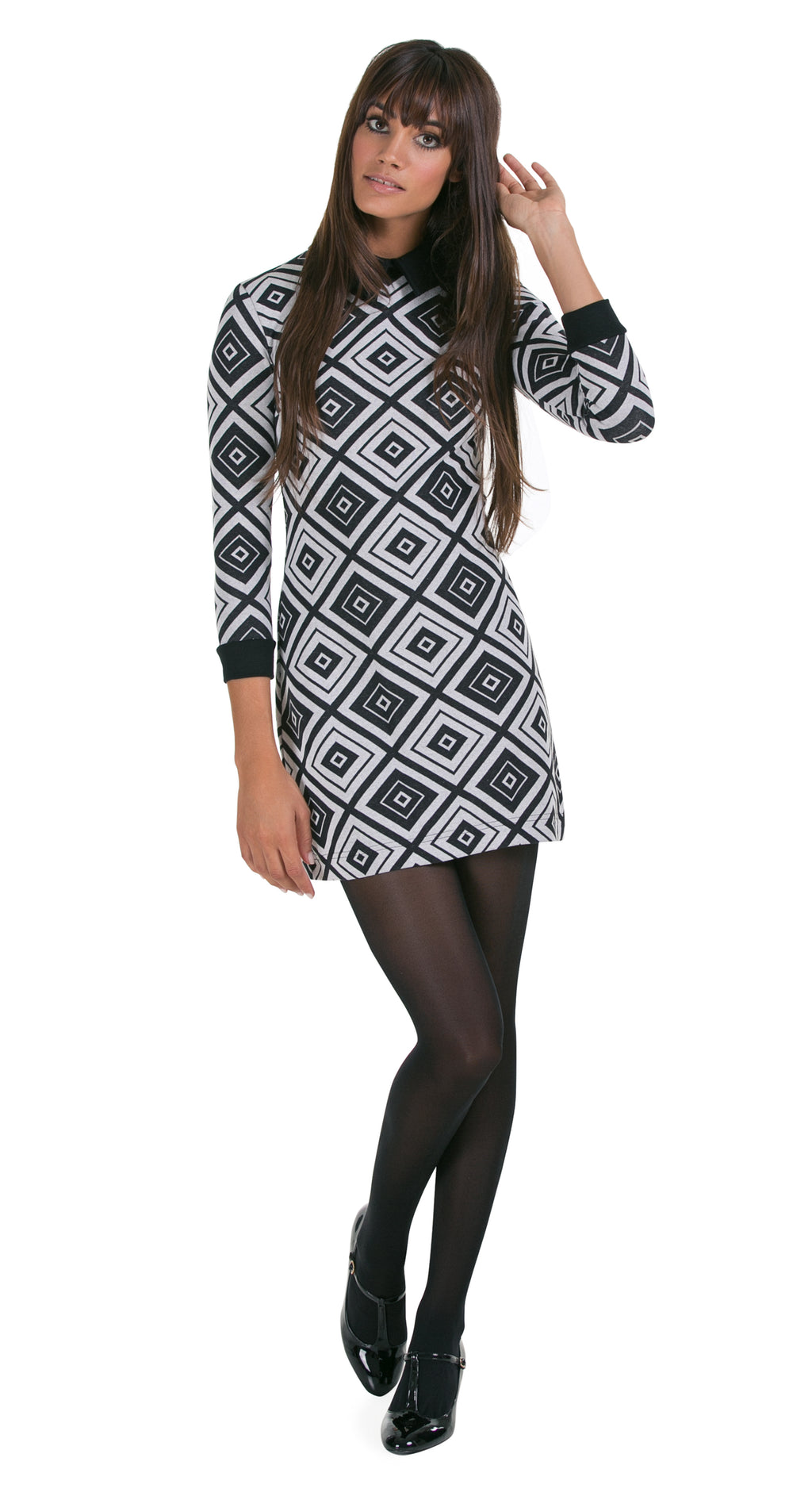 FITTED DIAMOND PATTERN LONG SLEEVED DRESS