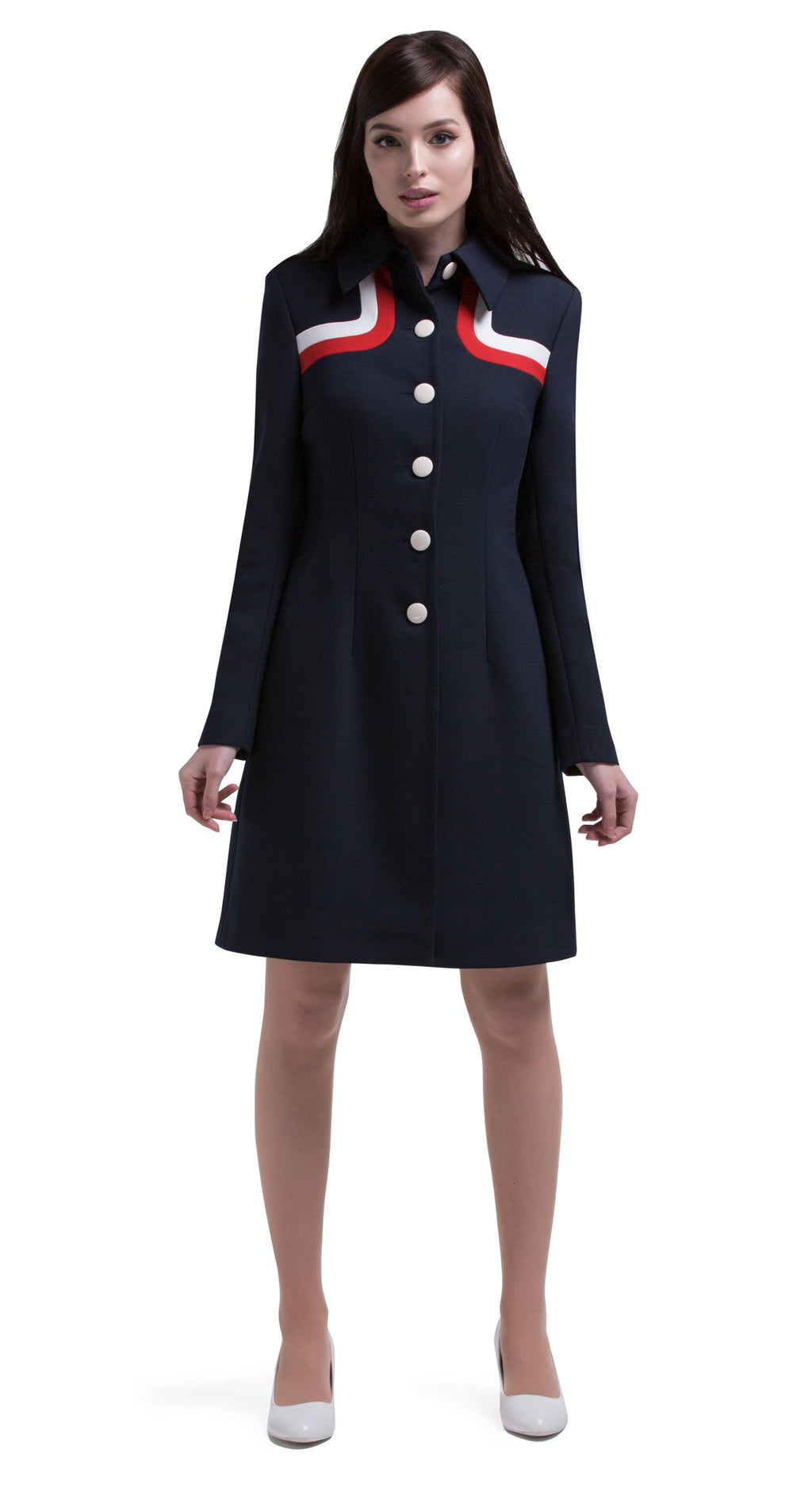 Another immediately sixties mod Autumn coat that allows for the timeless tri-colour of navy blue, red and light cream to produce a dramatic silhouette. A straight cut featuring a classic collar, fully lined Italian mill fabric, with functioning side pockets, animated white button front closure and a cool retro striped neckline.  An entrance maker over plain dresses within the tricolour colour range or paired perfectly with matching dress to complete this high fashion very wearable set.