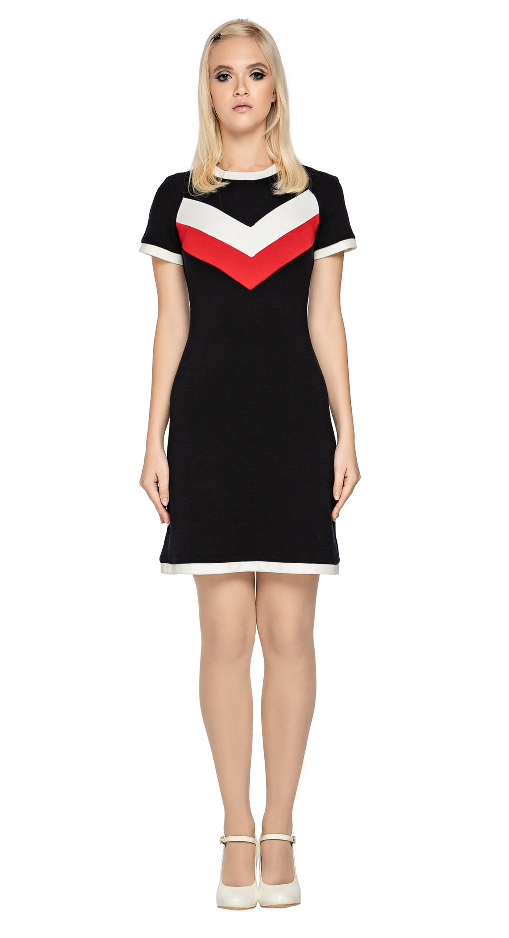 Tri-colour fitted medium weight Italian jersey dress with modernist chevron design.  Dark navy body with red and light cream contrast. Light cream hem and cuff detailing add to the retro look. Ideal & comfortable work or play wear with a high fashion presence.  Pairs incredibly with our Tri-Colour Jersey Jacket for an undeniably cool and casual set.  Fabric provides generous stretch. Back zipper closure.