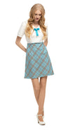 MARMALADE 1960's Inspired Turquoise/Black/Purple/Light Cream Plaid Dress