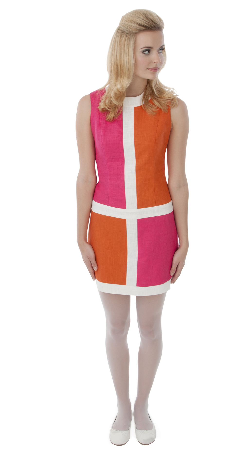 PINK/BURNT ORANGE MONDRIAN STYLE DRESS